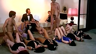 Vintage sex orgy action with sultry company be proper of girls