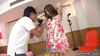 Seductive Asian chick Saya Aika gets her pussy slammed and creampied