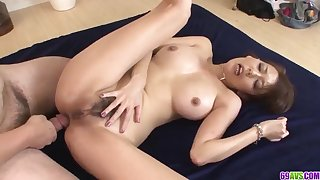 Akari Asagiri stunning housewife coitus with two makes