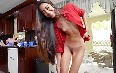 Girl with small tits tries cock not far from perfect POV