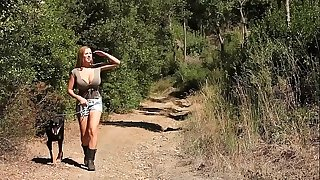Stranded blonde kidnapped increased by tied up in the forest