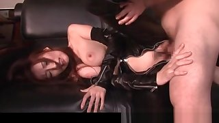 Nasty jap mistress in latex banged doggy sense on the sofa