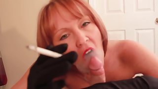 smoking blowjob all over black satin gloves