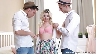 Enticing dudes fuck pussy and anus of handsome hot blondie Cornelia