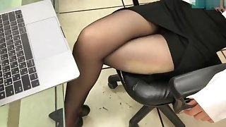 Meeting lady legs in black pantyhose and heels
