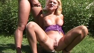 Profane blonde slut Sarah loves to be fucked and revitalizing piss