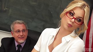 Blonde secretary Riley Steele here miniskirt fucked by her boss