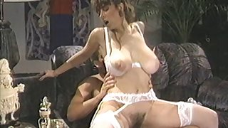 Retro video of a MMF threesome with natural tits Bunny Bleu