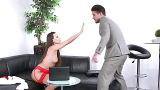 Provocative secretary Mea Melone teases her boss and gets fucked