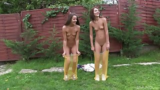 Lesbians Alexis plus Adriana Brill play in the matter of the outdoors plus shower
