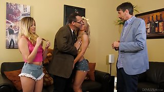 Two babes realize the stepdads to shove their stiff cocks in their pussies