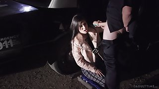 Kinky cop fucks lane whore Katya Rodriguez and cums on her element