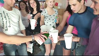 Group sex during a large party with over again of horny boys together with girls