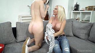 Grown-up lady uses her seductive charms on a young girl with a big butt