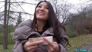 POV bungler mating for cash with a stunning Asian chick