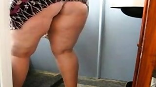 Huge Mature Ass Cleaning chum around with annoy Bathroom and Similar to one another her pussy