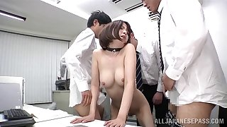 MMF threesome in the office close by charming secretary Ryo Tsujimoto