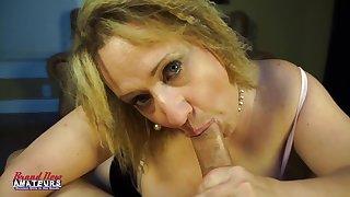 Donna sucks dick as a mature big boob slattern