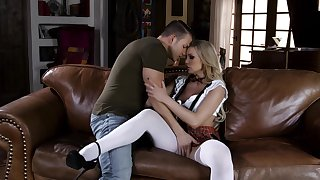 Horn-mad schoolgirl Kenzie Taylor fans the inspired of passion with a stud