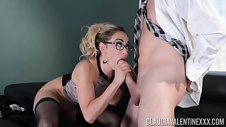 Claudia Valentine is fucking her handsome boss after sucking his load of shit to beg it very hard