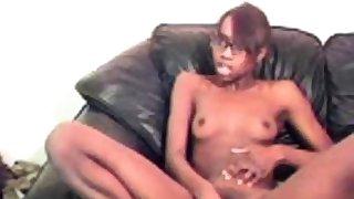 cute slim ebony with glasses play with dildo