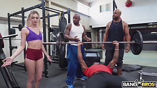 Cute white girl interrupts a workout and ends up property fucked by black men
