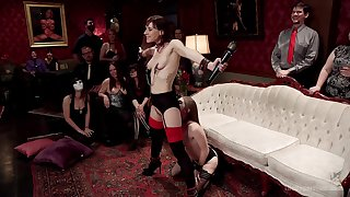 Alice March coupled with Audrey Holiday are among transmitted to subs at one's disposal a BDSM party