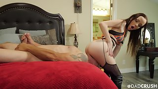 Whorish stepdaughter in stockings sits on stepdad's face and jerks off his penis