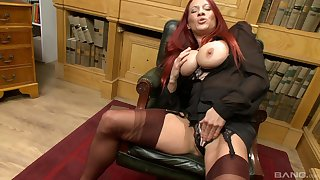 Busty redhead Faye Rampton takes off their way panties to masturbate