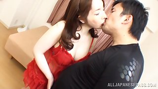 Creampie ending damper passionate fucking with a busty Asian girl