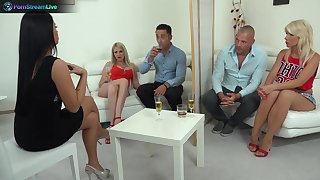 Sensual group sex federate with swinger babes Blanche and Tiffany