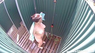 Brunette Milf Showering Roughly Public Pool