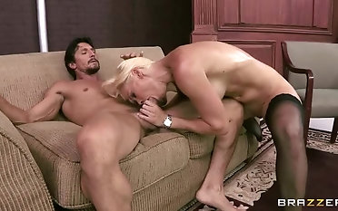 Snazzy golden-haired mom Rhylee Richards plays on touching a hot sex toy